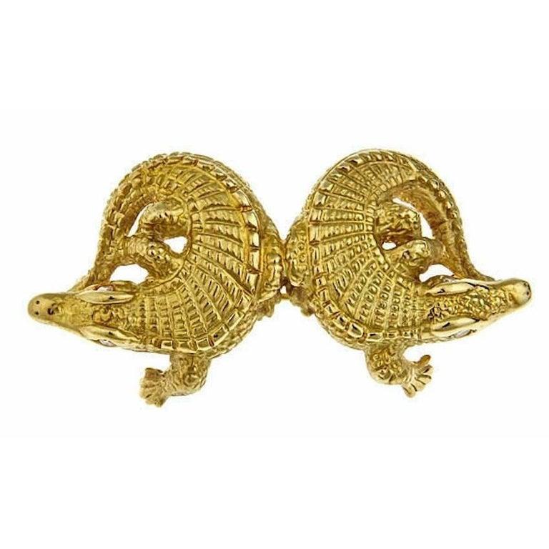 Diamond Eyes 18k Gold Two Alligators Pin/Pendant by John Landrum Bryant