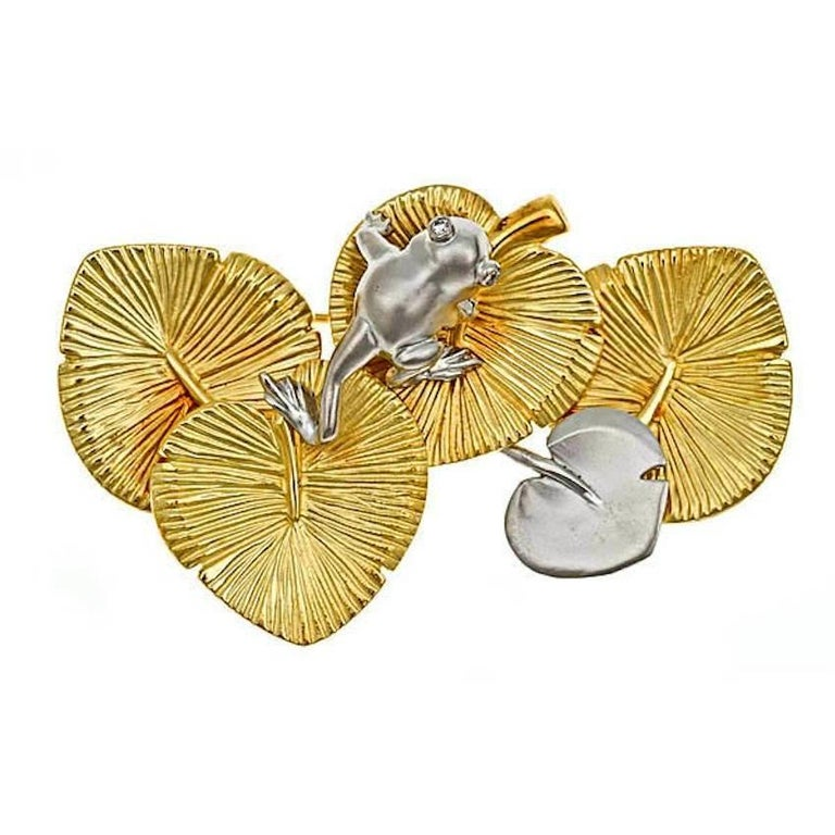 18k Yellow Gold Platinum WATER LILY WITH FROG Brooch by John Landrum Bryant