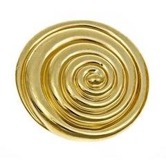 18k Yellow Gold Whirlpool Brooch by John Landrum Bryant