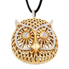 Double-Sided Diamond 18 Karat Mystical Owl Pendant by John Landrum Bryant
