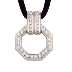 Diamond 18k White Gold Octagonal Pendant by John Landrum Bryant