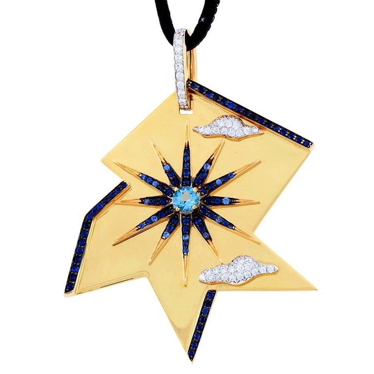 Diamond Aquamarine and Blue Sapphire Gold Summer Pendant 2 John Landrum Bryant