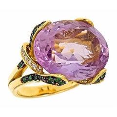 Amethyst Tsavorite Diamond 18k LILY OF FRANCE Ribbon Ring by John Landrum Bryant