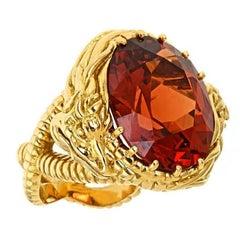 24.6 Carat Mandarin Garnet 18 Karat Gold Sea Serpent Ring by John Landrum Bryant