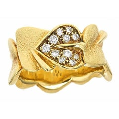 Diamond 18k Gold Water Lily Leaf Ring by John Landrum Bryant