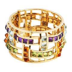 Movable Stones 18k Gold ABACUS Bracelet by John Landrum Bryant