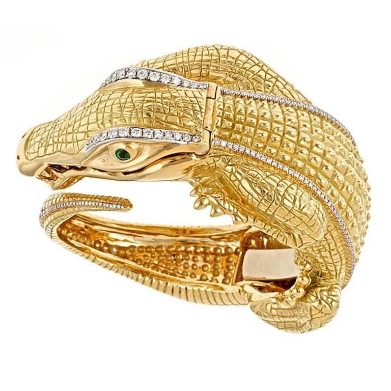 Diamond Ruby Yellow Gold Alligator Bracelet Quartz Watch by John Landrum Bryant