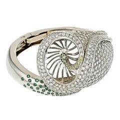 White Green and Yellow Diamond Calla Lily Bangle Bracelet by John Landrum Bryant