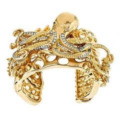 White Diamonds 18k Gold Octopus Family Convertible Cuff by John Landrum Bryant