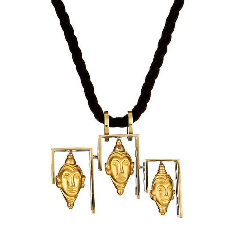 John Landrum Bryant: 18k Gold IMPERIAL BUDDHA HEAD Necklace 1