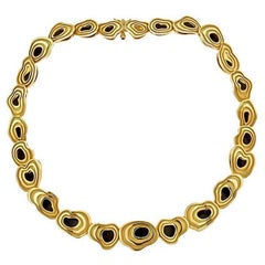 Black Jade 18 Karat Gold Two-Sided Island Necklace by John Landrum Bryant