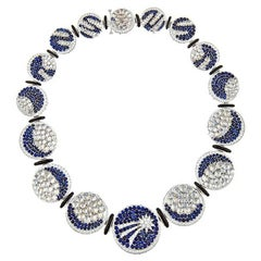 John Landrum Bryant: 18k White Gold Diamond Sapphire JANUS Necklace