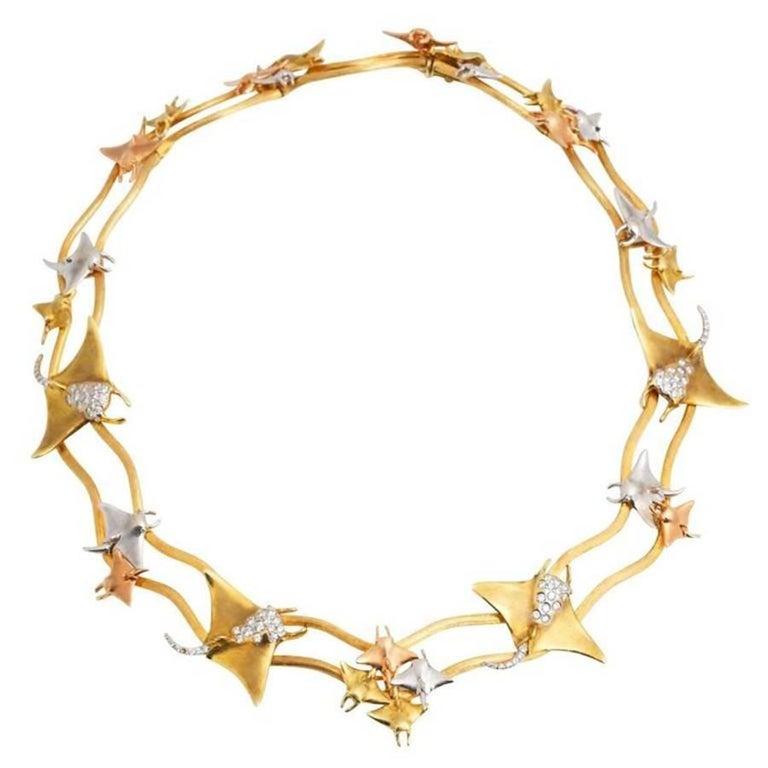 Diamonds Yellow White and Rose Gold Manta Ray Necklace John Landrum Bryant