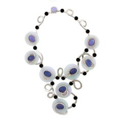 6.84ct. Diamond Black Jade 18k Moon Goddess Necklace by John Landrum Bryant