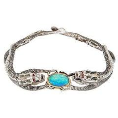 Diamond Opal Ruby Silver Moonlight Double Dragon Necklace by John Landrum Bryant
