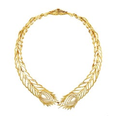 18k Gold Peacock Feather Necklace by John Landrum Bryant