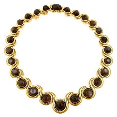 Black Moonstones 18 Karat Gold Snail Necklace by John Landrum Bryant