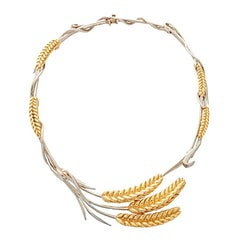18k Gold and Sterling Silver Wheat Necklace 2 by John Landrum Bryant