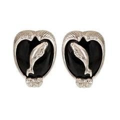 Onyx Platinum ARCTIC SEA Earrings by John Landrum Bryant