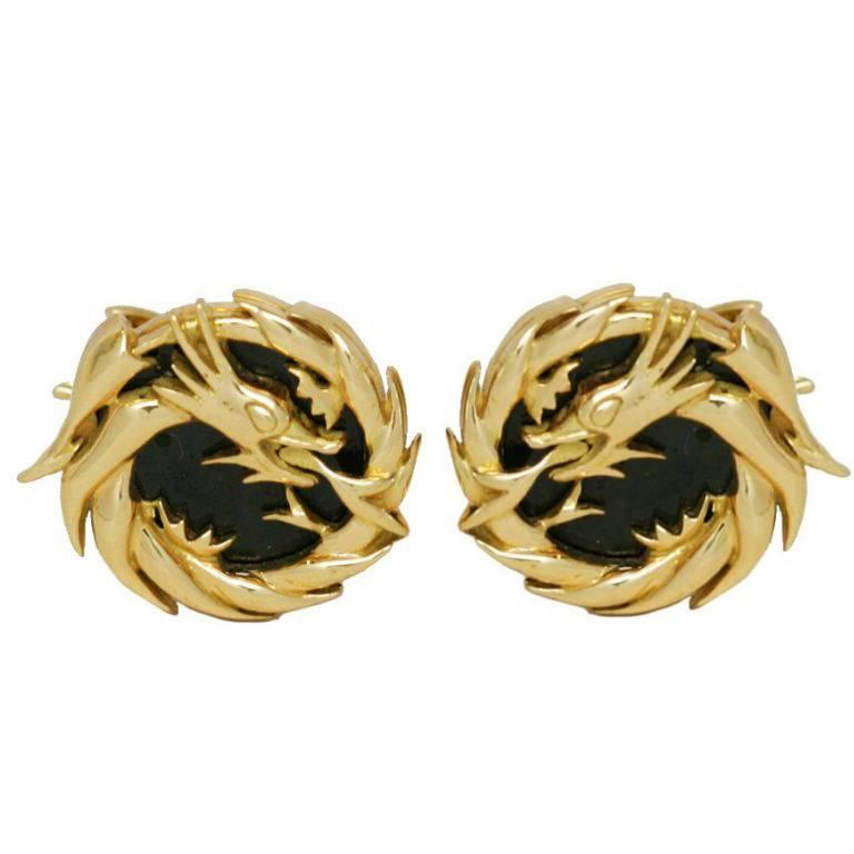 18 Karat Gold Black Sterling Silver Dragon Earrings By John Landrum Bryant For