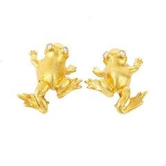 Diamond 18k Yellow Gold Striding Frog Earrings by John Landrum Bryant