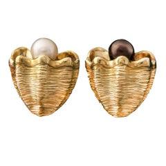 White and Black Pearl 18 Karat Giant Clam Shell Earrings by John Landrum Bryant