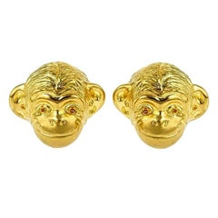 18 Karat Yellow Gold Monkey Head Earrings by John Landrum Bryant