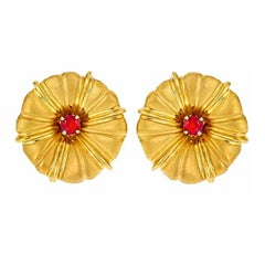 18k Yellow Gold MORNING GLORY Earrings with Rubies by John Landrum Bryant
