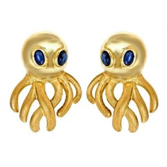 Sapphire Eyes 18 Karat Gold Octopus Earrings by John Landrum Bryant