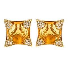 Diamond and Citrine 18 Karat Gold PARASOL Earrings by John Landrum Bryant