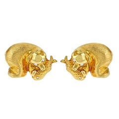 Diamond 18 Karat Yellow Gold Polar Bear Earrings by John Landrum Bryant