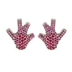 Pink Rubies 18k White Gold Staghorn Coral Earrings by John Landrum Bryant
