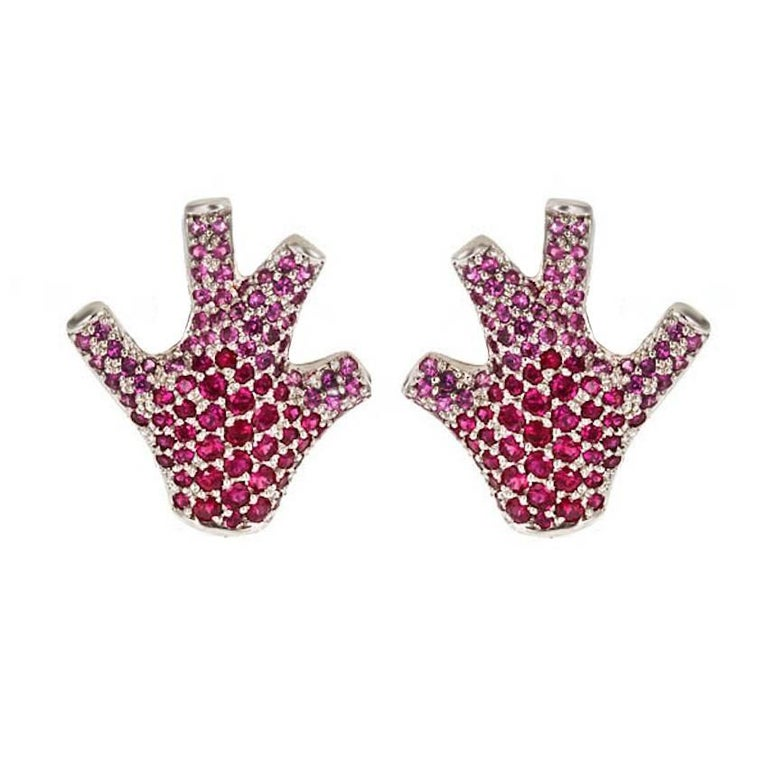 Pink Rubies 18k White Gold Staghorn Coral Earrings by John Landrum Bryant