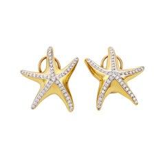 18 Karat Gold with Diamonds Starfish Earrings by John Landrum Bryant