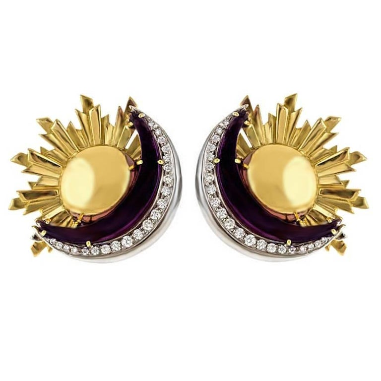 sun and moon earrings at 1stdibs