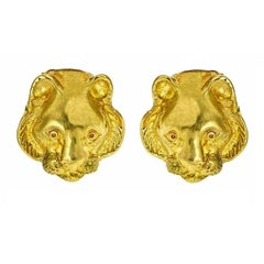 18 Karat Yellow Gold Tiger Head Earrings by John Landrum Bryant
