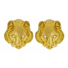 Tiger Head Earrings with Diamonds