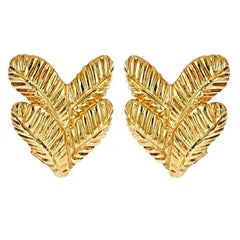 18k Gold Two Feather Earrings by John Landrum Bryant