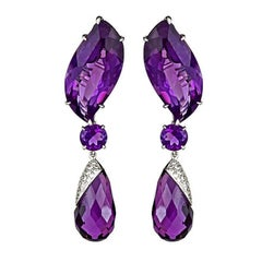 Amethyst 18 Karat White Gold Waterfall Earrings by John Landrum Bryant