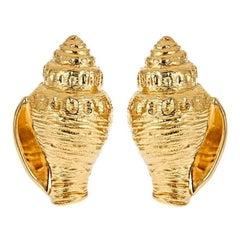 18 Karat Gold Whelk Shell Earrings by John Landrum Bryant