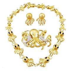 18 Karat Gold Diamond and Sapphire Octopus Necklace Brooch and Earrings Set