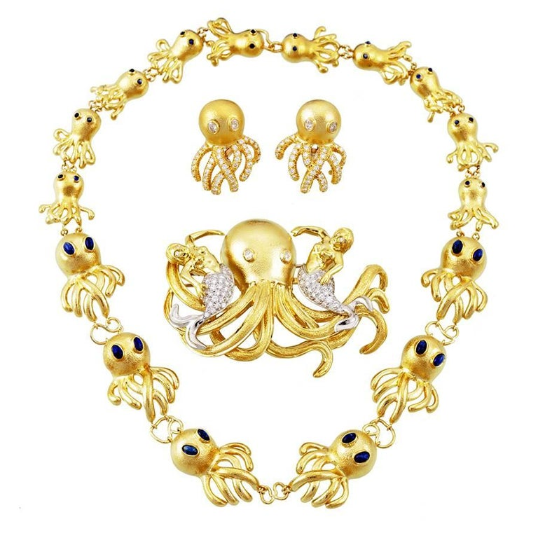 Diamond and Sapphire 18 Karat Gold Octopus Necklace Brooch and Earrings Set