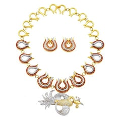 White Diamond and Ruby 18k FIREBIRD AND FLAMES Necklace Brooch and Earrings Set