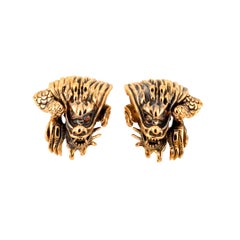 Brown-Orange Diamond Eyes 18k Gold Dragon Clip Earrings by John Landrum Bryant
