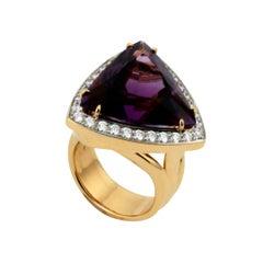 20 Carat Trilliant Cut Amethyst and Diamond Ring by John Landrum Bryant