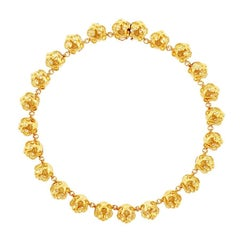 John Landrum Bryant, 18 Karat Yellow Gold Diamond Tiger Head Large Necklace