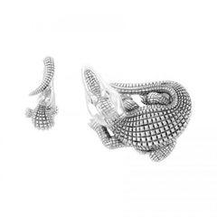 Sapphire Silver Curled Alligator Open Jaw Belt Buckle by John Landrum Bryant