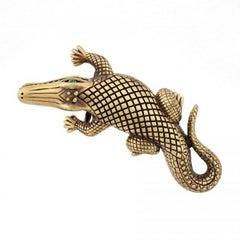 Bronze Stalking Alligators Belt Buckle by John Landrum Bryant