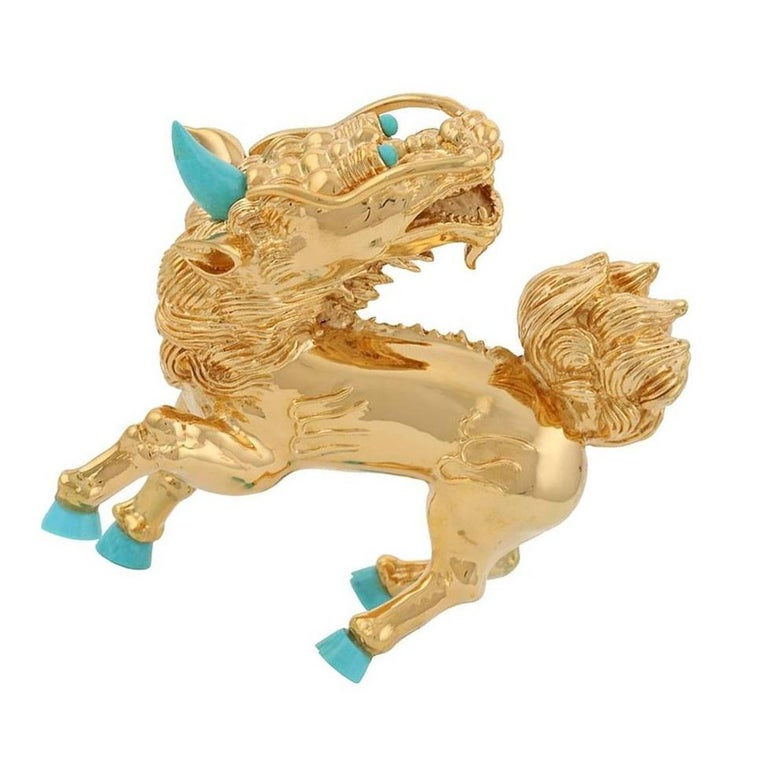 Turquoise Gold-Plated Bronze Kirin In New Condition For Sale In New York, NY