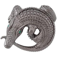 Curled Alligators Black Belt Buckle by John Landrum Bryant
